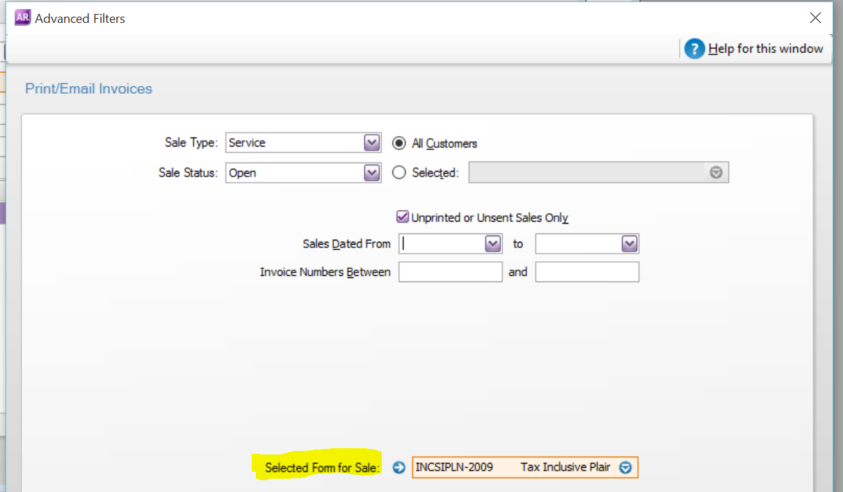 how do i make my customized form the default form in myob v2015 default s invoice form