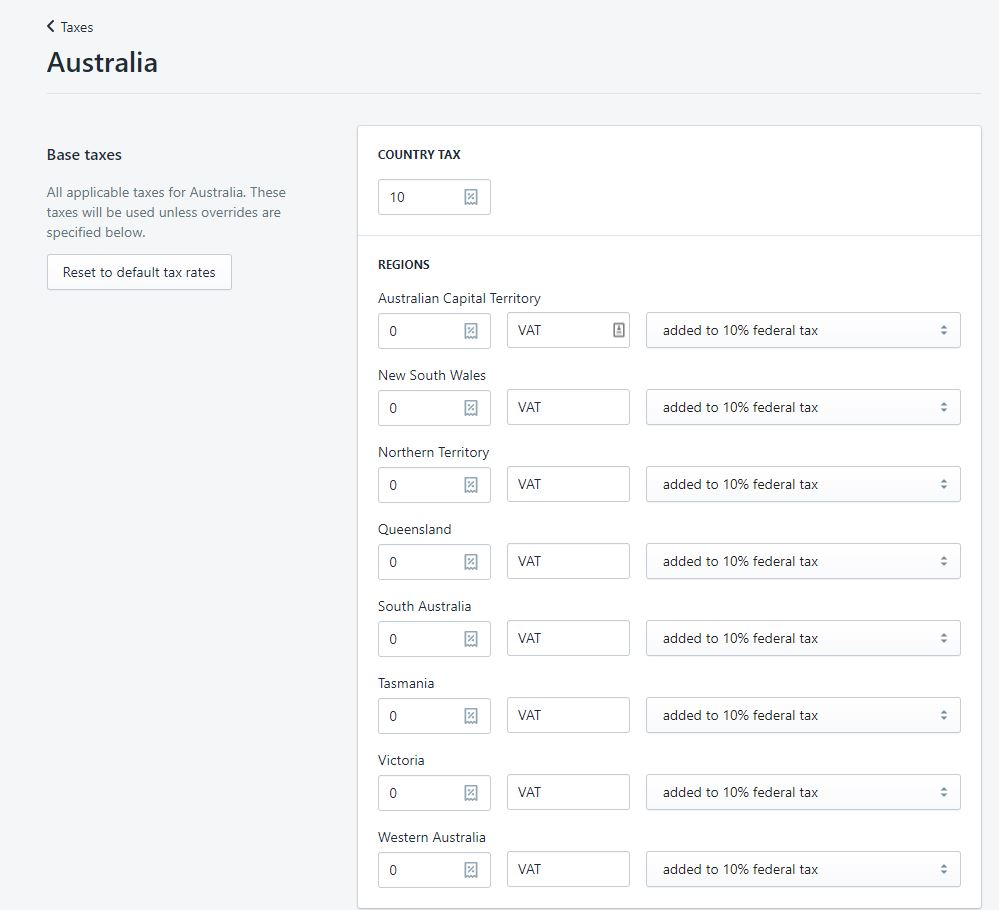 Australia GST collecting 1 - Setting up GST in your Shopify Australia Store